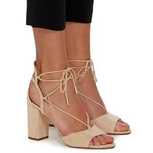 Aquazzura Austin Suede Lace-Up Sandals 38.5